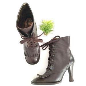 Dolce & Gabanna Kiltie Booties Brown Lace Up Heels